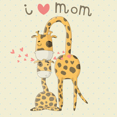 Greeting Card for Mother's Day with cute cartoon giraffes