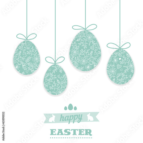 Easter greeting card with eggs. Hanging Easter eggs