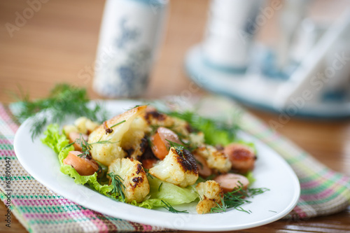 fried cauliflower with sausages