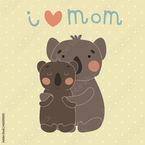 Greeting Card for Mother's Day with cute cartoon koalas