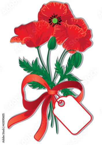 Red poppies with tag