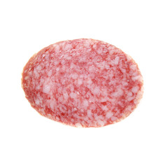 Sausage slice isolated on white.