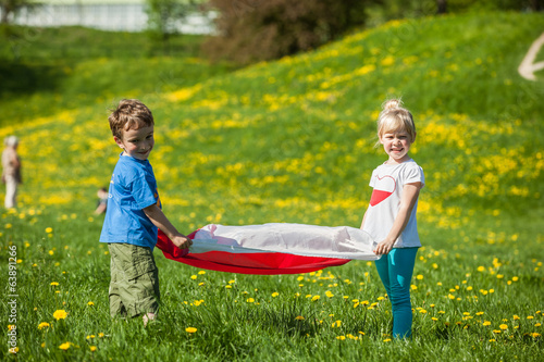 children with Polish flag