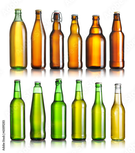Bar Set of full beer bottles with no labels isolated on white