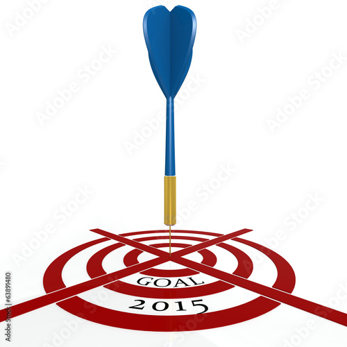 Dart board with goal 2015