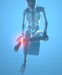 Corpo umano seduto con dolore alla caviglia