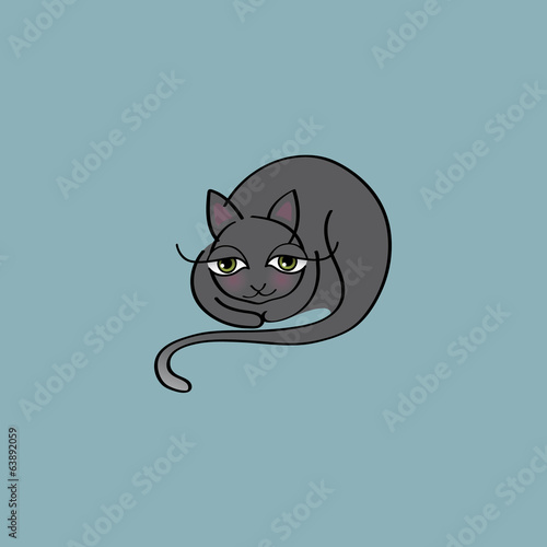 Cute Cat / Illustration of lazy kitty