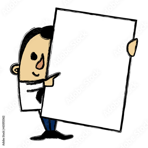 Businessman holding a sheet of paper