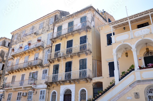 streets and houses in the town of Corfu, Greece, Europe