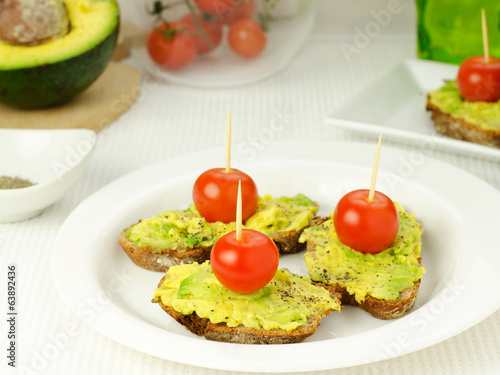 Avocado and tomato on bread