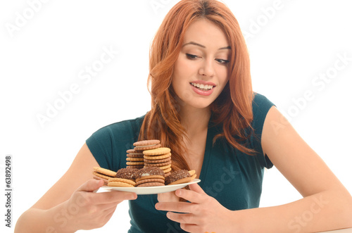 Woman in love with sweets, candies,chocolate and sugar