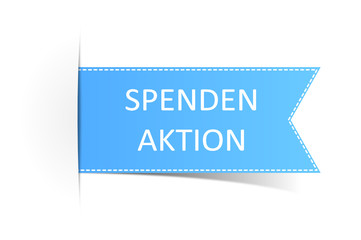 Schild blau Spendenaktion