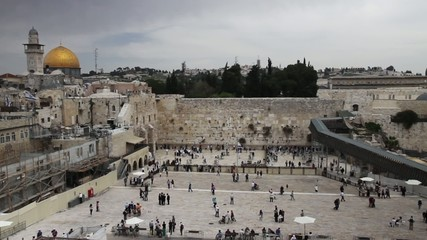 Time-laps of Wailing wall in Jerusalem, Israel