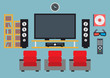 Home cinema system. Vector illustration