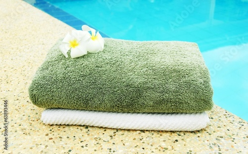 Spa towels near the pool