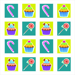 Set of cupcake and candies icons