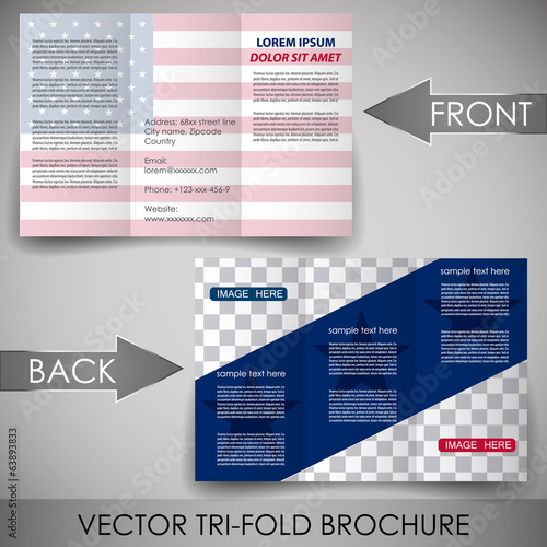 Corporate brochure template with United states flag