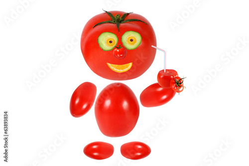 Funny little tomato  smiles and keeps tomato juice