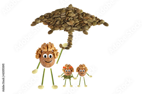 Family nuts under the umbrella