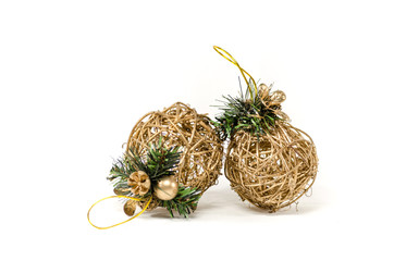 Two wattle christmas tree decoration without background