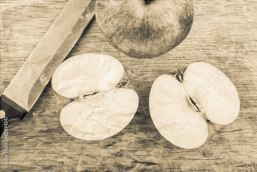 Cut apple in retro style
