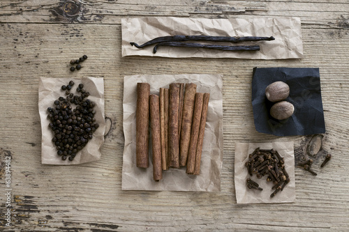 Spice on wooden background