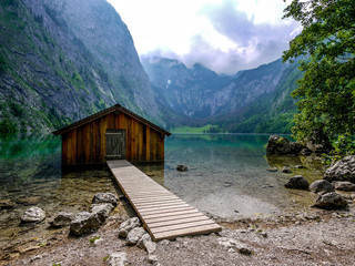 Boathouse at Obersee lake, Berchtesgaden, Germany