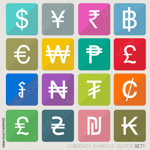 Currency icons set. currency symbols vector (world money)
