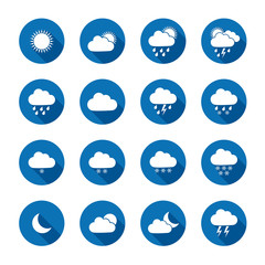 Long shadow style weather icons