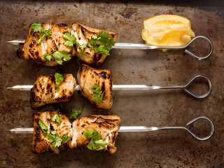 barbecued chicken skewer