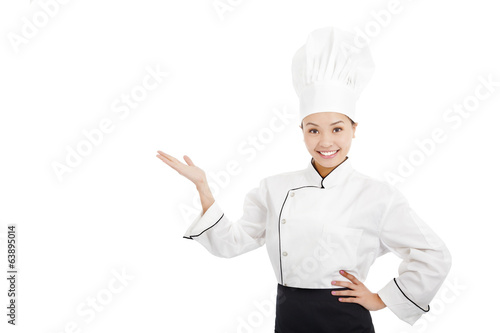 professional female cook raise hands to show something