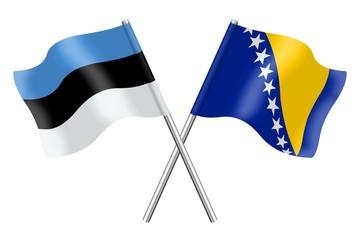 Flags : Estonia and Bosnia-Herzegovina