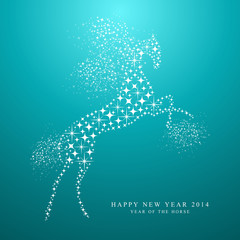 Happy New Year of horse 2014 stars postcar