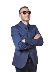 thinking elegant businessman with sunglasses