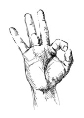 Drawing of hand with a gesture ok. Vector illustration