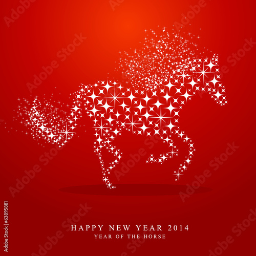 New Year of horse 2014 stars greeting card
