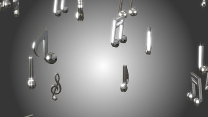 Music notes classic colors looping animated background