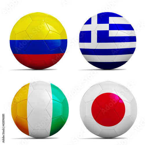 Soccer balls with group C teams flags, Football Brazil 2014.