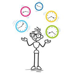 Strichmännchen, Zeitmanagement, Produktivität, Jonglieren