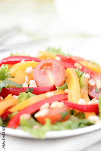 Salad with vegetables and greens.