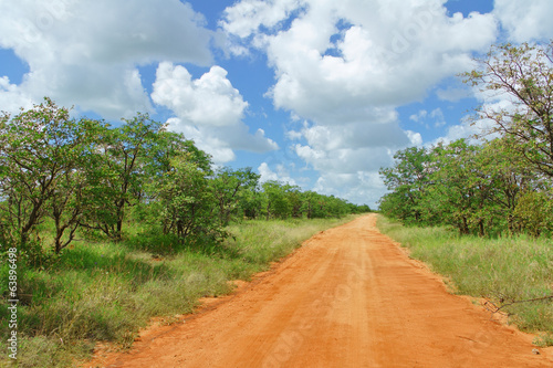 African road in savannah, South Africa, Kruger national park