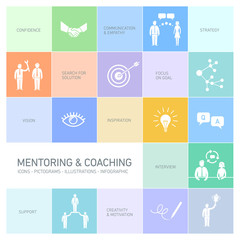 vector mentoring and coaching icons and pictograms set