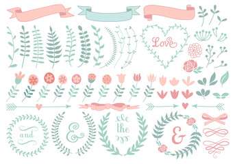 floral laurel wreath, vector set