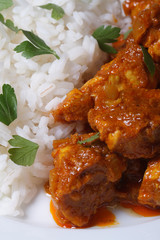 Rice and pieces of chicken in curry macro