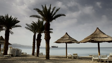 View on the Aqaba gulf from central beach of Eilat