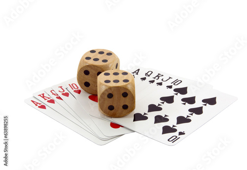 Royal Flushes in Spades and Hearts with Wooden Dice