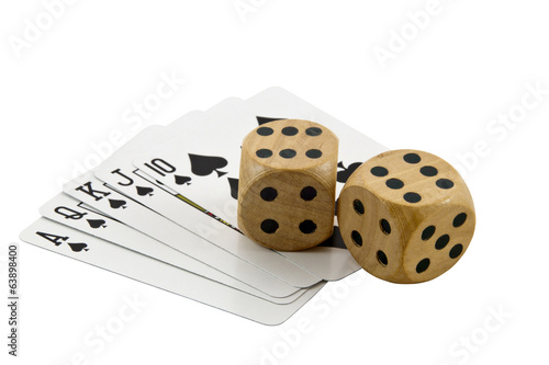 Royal Flush in Spades with Two Wooden Dice