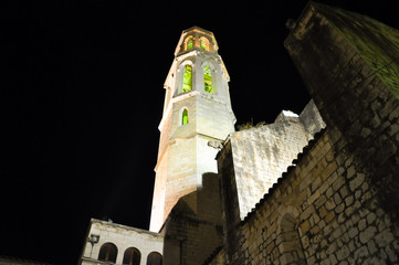 Figueres cathedral and Dali Theatre at night in Spain.