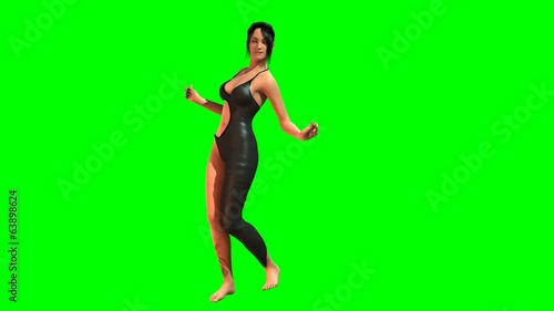 Hot Girl in sexy Dress dances - green screen