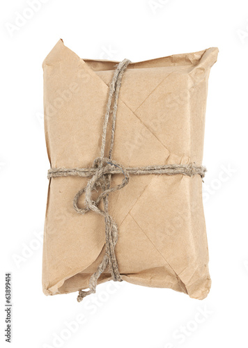 Parcel on white background